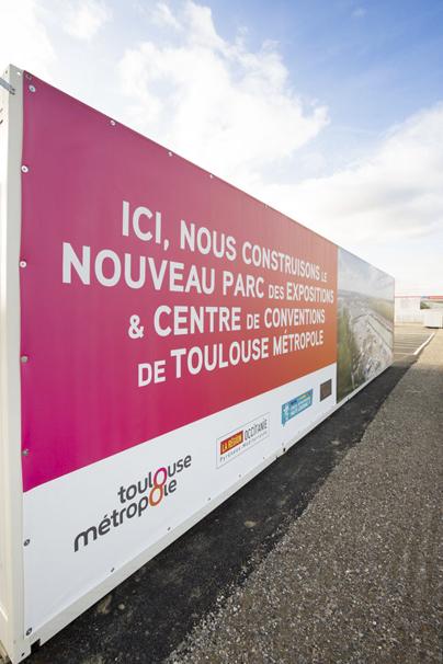 Habillage du chantier du futur Parc des Expos de Toulouse